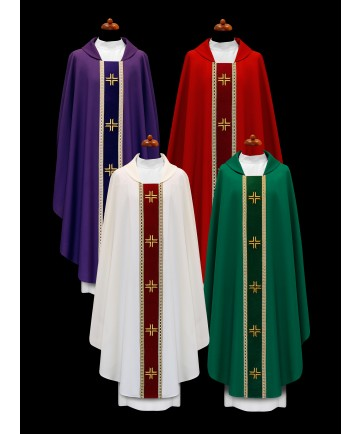 Chasuble by Alba with Embroidered Velvet Panel