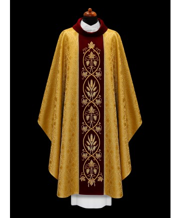 Chasuble by Alba Gold with Embroidered Red Panel