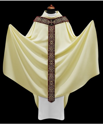 Chasuble by Alba White with Embroidered Pallium