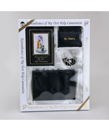 First Communion Missal Set for Boys with Black Wallet