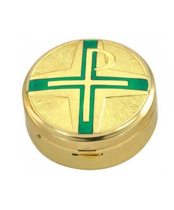 Gold Plated Pyx with Green Chi-Rho Cross (15 hosts)