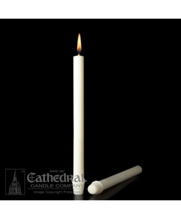 """7/8"""" x 12"""" Altar 51% Beeswax Candles Self-Fitting End (Short 4)"""