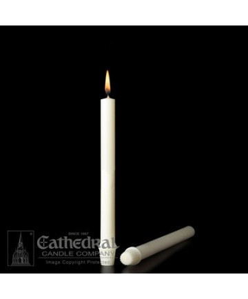 """11/16"""" x 9 1/4"""" Altar 51% Beeswax Candles Self-Fitting End (Long 8)"""