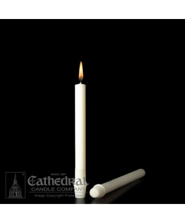 """7/8"""" x 8"""" Altar 51% Beeswax Candles Self-Fitting End (Short 6)"""