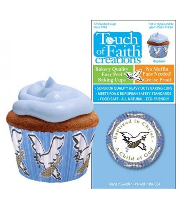 Cupcake Paper - Baptized in Christ, A Child of God (Blue)