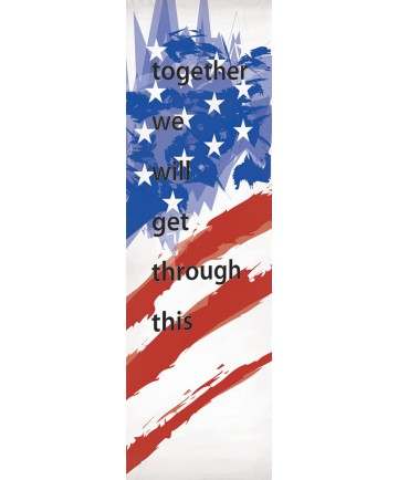 """""""Together"""" Inside or Outside Church Banner with American Flag"""