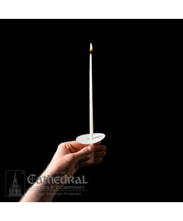 """11"""" 51% Beeswax Congregational Candles with Drip Protectors"""