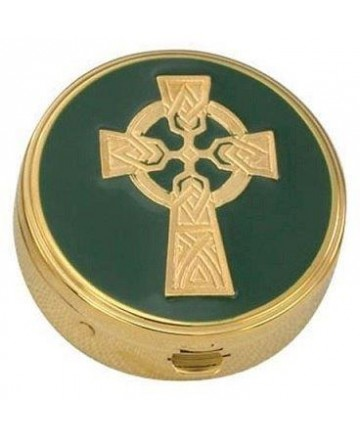 Gold Plated Pyx with Green Celtic Cross Design (6 hosts)