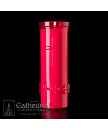 6 Day Candles in Ruby Unbreakable Plastic Containers