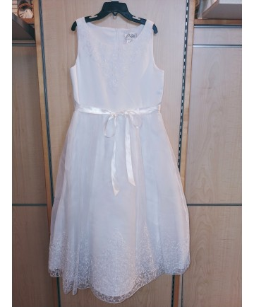 Communion Dress with Embroidery (Size 14)