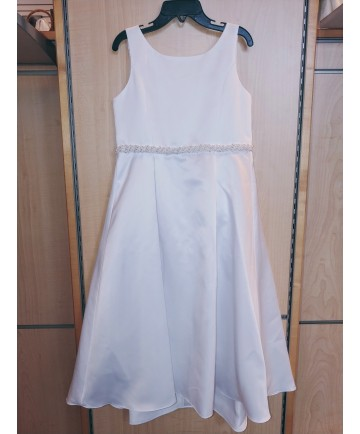 Communion Dress: Satin with Beaded Belt (Size 6X)