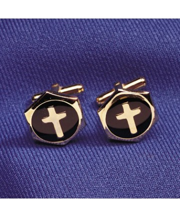 Cuff Links with Inlaid Cross Design