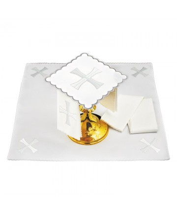 Altar Mass Linen Set with Silver Cross by Haftina Atelier