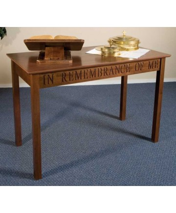 Silk-Screened Communion Table with Walnut Stain by Robert Smith