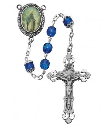 7 mm Blue Glass Beads OL of Grace Rosary