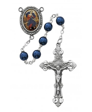 7 mm Blue Our Lady Undoer of Knots Rosary
