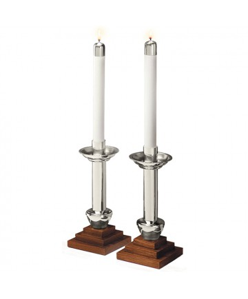 Altar Candlesticks Silverplate and Wood - Chapel Line