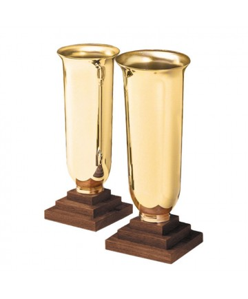 Altar Vases Brass and Wood - Chapel Line