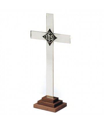 Altar Cross Silverplate and Wood - Angel