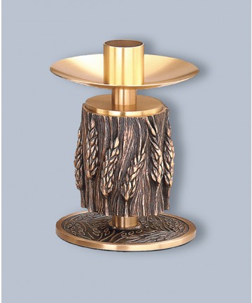 """Regal Altar Candlestick with 1.5"""" Socket, Wheat Design, 6-1/4""""H"""