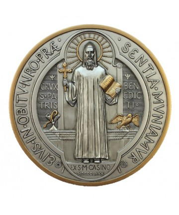"""St Benedict Medal Plaque in Pewtewr Style Finish 7"""" dia."""