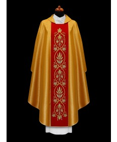 Chasuble by Alba Gold with Red Band