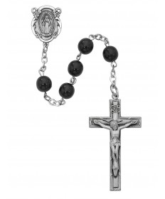 7 mm Black Glass Bead Rosary
