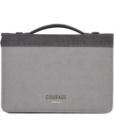 Courage Two-Tone Grey Bible Cover - Joshua 1:9 - Medium