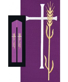 Overlay Stole with Wheat and Cross Embroidery by Beau Veste