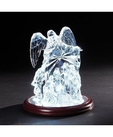 "Angel over Nativity LED 9""H"