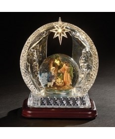 "Musical Nativity Gliterdome with Arch 9.25""H"