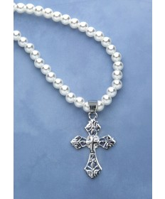Pendant - Cross and Pearl