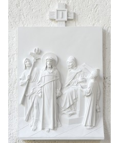 Stations of the Cross by Demetz Art Studio - White Marble Finish Fiberglass