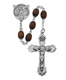 6 x 8 mm Brown Wood Bead Rosary