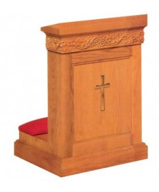Prie Dieu with Shelf, Grapevine Design and Cross