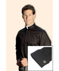 Neckband Clergy Shirt Long Sleeve with French Cuffs in Black