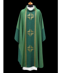 Chasuble by Alba Hand-woven with Chalice Veil (Green)