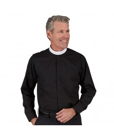 Neckband Clergy Shirt Long Sleeve Black by R.J.Toomey Co.