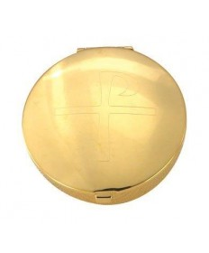 Gold Plated Pyx with Chi-Rho Cross Design