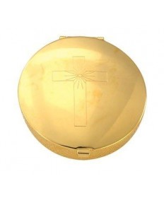 Gold Plated Pyx with Ornate Cross Design