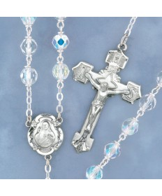 7 mm Glass Beads Sterling Silver Rosary