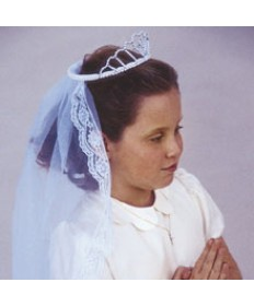 First Communion Veil with Pearl Tiara