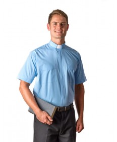 Clergy Shirt by MDS - Sky Blue Short Sleeve