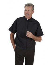 Summer Comfort Jak Clergy Shirt Short Sleeve in Black by R.J.Toomey Co.