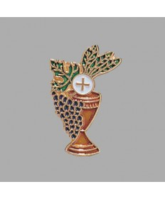 First Communion Lapel Pin - Chalice and Grapes