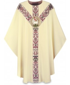 Chasuble by Slabbinck in Dupion Fabric with Lamb of God Emblem