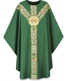 Chasuble by Slabbinck in Dupion Fabric with Cross Emblem