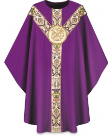 Chasuble by Slabbinck in Dupion Fabric with Alpha/Omega Emblem