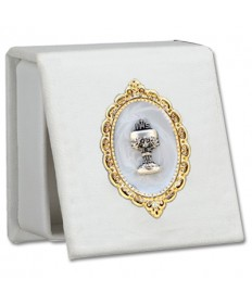 First Communion Keepsake or Rosary Box - White Leatherette