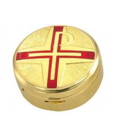 Gold Plated Pyx with Red Chi-Rho Cross (15 hosts)